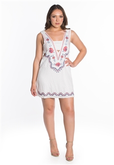 Women's Sleeveless Dress with Self Tie Back Detail and Embroidery Accents