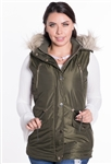 Women's Vest with Faux Fur Lining and Detachable Hood