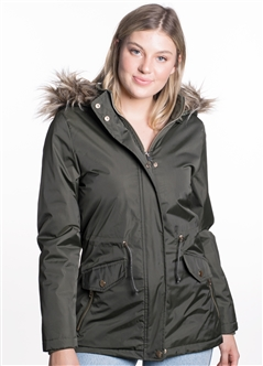 Women's Jacket with High Shine Zippers and Snap Buttons and Detachable Hood