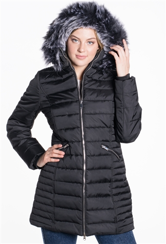 Women's Mid Length Puffer Jacket with Detachable Hood and High Shine Zippers