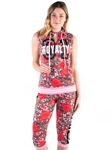 FT1818-Women's French Terry All-over Floral Printed Sleeveless Pullover Hoodie and Capri Jogger Set