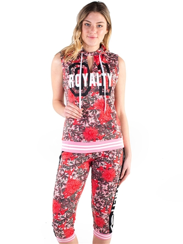 4500-FT1818-AOP-Women's French Terry All-over Floral Printed Sleeveless Pullover Hoodie and Capri Jogger Set<BR>More colors