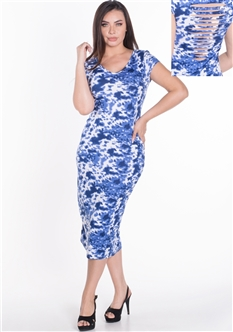 Women's Short Sleeve Tie-dye Midi Dress with Cut Out Back