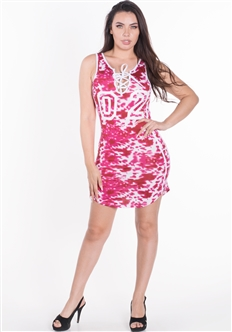 Women's Tie Up Mini Dress with Jersey Style Number and Side Stripes