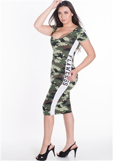 "Women's Short Sleeve Camo Bodycon Dress with Plunging Back and ""FLAWLESS"" Print on Sides"