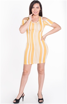 Women's Striped Cold Shoulder Bodycon Shirt Dress
