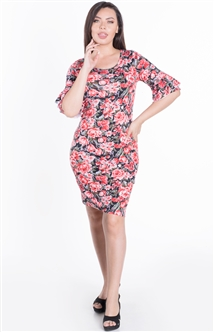 Women's Floral Bodycon Dress with Ruffled Quarter Sleeves