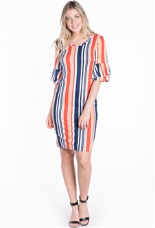 Women's Striped Bodycon Dress with Ruffled Quarter Sleeves