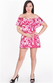 Women's Tie Dye Off the Shoulder Flounce Layer Mini Shift Dress