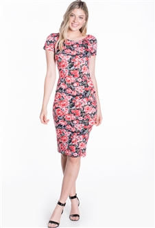 Women's Floral Fitted Short Sleeves Shirt Dress