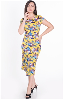 Women's Floral Fitted Shirt Dress with Short Sleeves and Midi Length