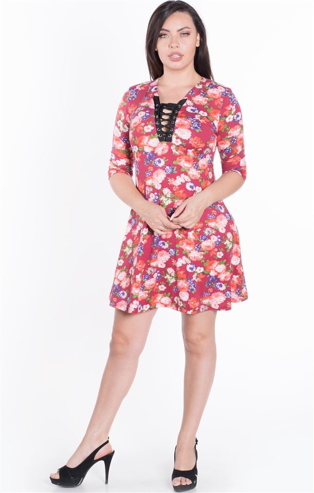 4500N-PLA25X-Old Rose-Women\'s Floral Plus Size Lace Up Closure Shift Dress  with Quarter Sleeves/ 1-2-2-1