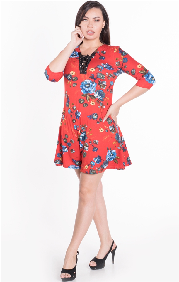 4500N-PLA25X-Red-Women\'s Floral Plus Size Lace Up Closure Shift Dress with  Quarter Sleeves/ 1-2-2-1