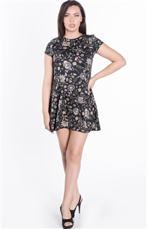 Women's Floral Tent Dress with Short Sleeves and Mini Length