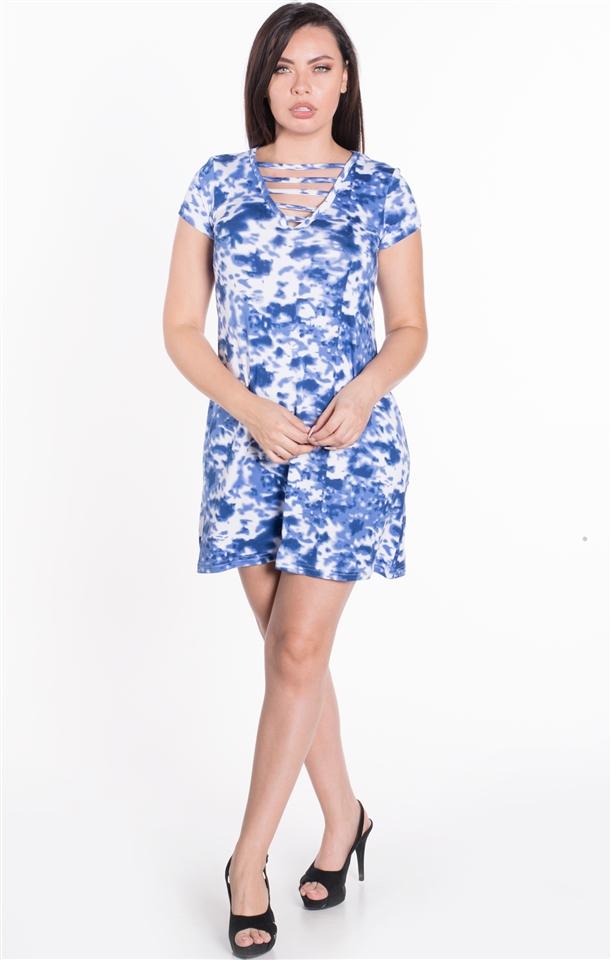 4500N-PLA27X-Blue-Women\'s Plus Size Tie Dye Strappy Ladder Detail  Shortsleeve Shirt Dress / 1-2-2-1