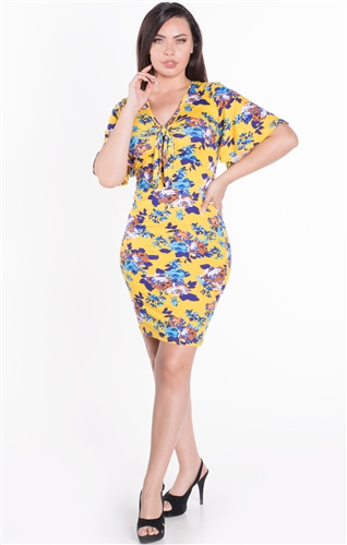 Women's Floral Self Tie Closure Bodycon Dress