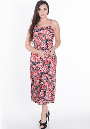 Women's Floral Midi Dress with Halter Neckline