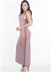 Women's Sleeveless Maxi Dress with Contrasting Rainbow Side Stripes