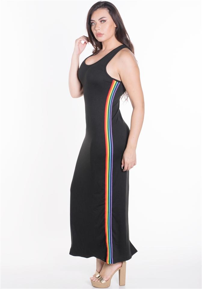 4500N-SDP41X-Black-Women\'s Plus Size Sleeveless Maxi Dress with Contrasting  Rainbow Side Stripes/1-2-2-1