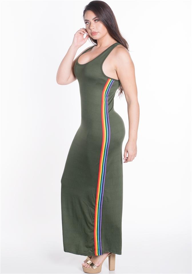 4500N-SDP41X-Dusty Cactus-Women\'s Plus Size Sleeveless Maxi Dress with  Contrasting Rainbow Side Stripes/1-2-2-1