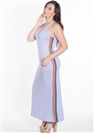 Women's Plus Size Sleeveless Maxi Dress with Contrasting Rainbow Side Stripes
