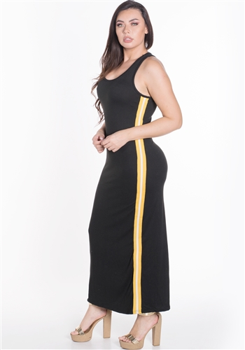 Women's Sleeveless Maxi Dress with Contrasting Yellow Side Stripes
