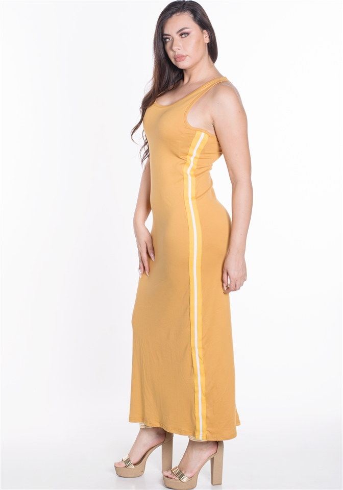 4500N-SDP42X-Gold-Women\'s Plus Size Sleeveless Maxi Dress with Contrasting  Yellow Side Stripes/1-2-2-1