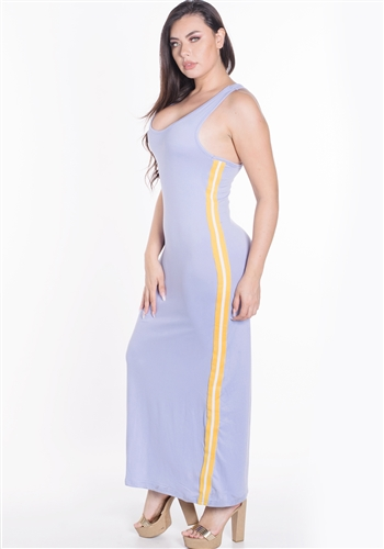 Women's Plus Size Sleeveless Maxi Dress with Contrasting Yellow Side Stripes/