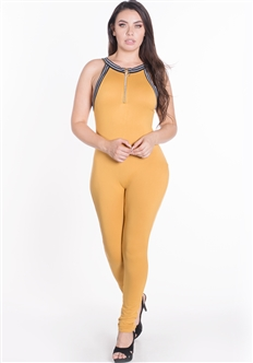 Women's Half Zip Up Bodycon Jumpsuit