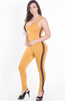 Women's Sleeveless Bodycon Jumpsuit with Side Stripes