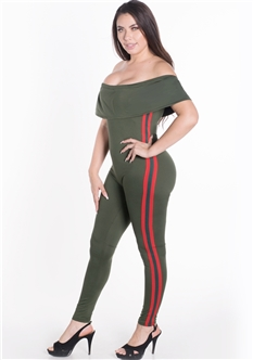 Women's Elasticized Off Shoulder Jumpsuit with Side Stripes