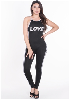 "Women's Sleeveless Bodycon Jumpsuit with ""LOVE"" Print"