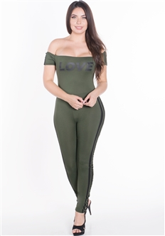 "Women's Off the Shoulder Bodycon Jumpsuit with ""LOVE"" Print"