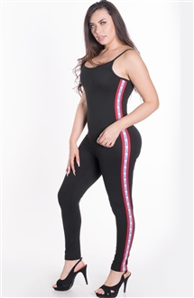 "Women's Sleeveless Bodycon Jumpsuit with ""LOVE"" Print on Sides"
