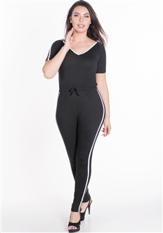 Women's Hooded Boycon Jumpsuit with Contrasting Side Stripes