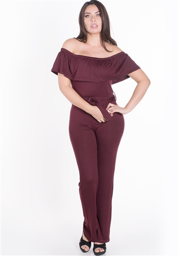 Women's Elasticized Off Shoulder Jumpsuit with Belt Sash