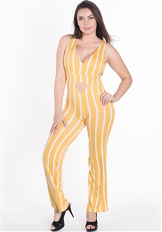 Women's Striped Strappy Back Sleeveless Jumpsuit with Cutout