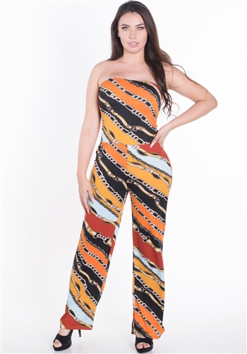 Women's Printed Strapless Jumpsuit with Wide Leg Pants