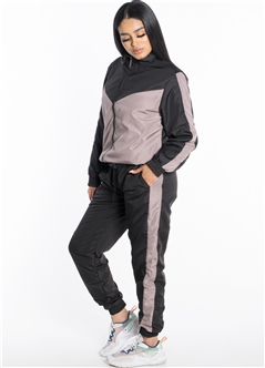 Women's Windbreaker Jacket with Striped Pants Set