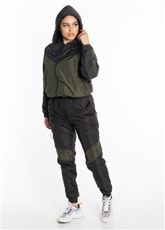 Women's Windbreaker Hooded Jacket with Striped Pants Set