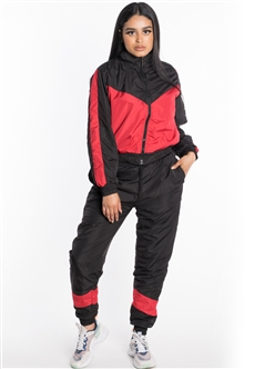 Women's Windbreaker Cropped Jacket with Striped Pants Set