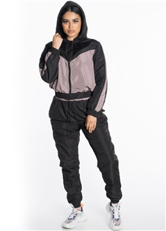 Women's Windbreaker Hooded Cropped Jacket with Pants Tracksuit Set with Brushed Fleece Lining
