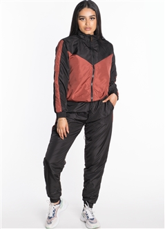 Women's Windbreaker Jacket with Pants Tracksuit Set with Brushed Fleece Lining