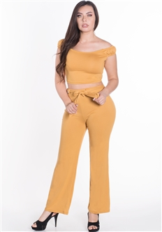 Women's 2-Piece Off the Shoulder Crop Top and Flare Pants Set