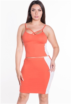 Women's 2-Piece Strappy Crop Top and Skirt Set with Side Stripes