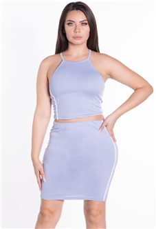 Women's 2-Piece Halter Neck Crop Top and Skirt Set with Side Stripes