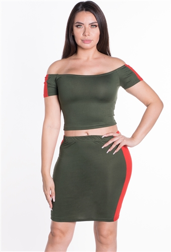 Women's Off Shoulder 2-Piece Crop Top and Skirt Set with Side Stripes