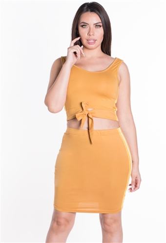 Women's 2-Piece Crop Top and Skirt Set with Self-Tie Detail/