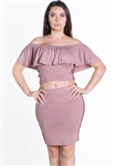 Women's 2-Piece Off Shoulder Flounce Layer Crop Top and Skirt Set with Side Stripes/