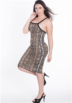 "Women's Crisscross Back Snake Print Dress with Tape Printed ""LOVE"" on the Sides"